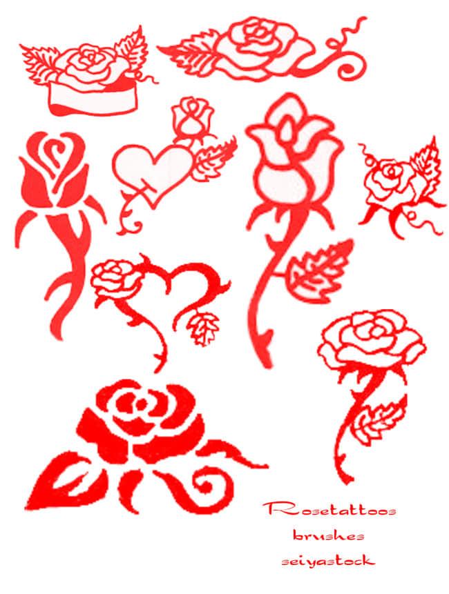 手绘玫瑰花花纹图案Photoshop笔刷素材下载 玫瑰花笔刷 植物花纹笔刷 手绘花纹笔刷 印花笔刷  flowers brushes