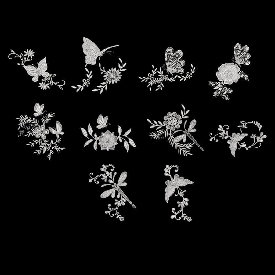 拼凑型植物蝴蝶艺术花纹图案效果Photoshop笔刷素材下载 蝴蝶花纹笔刷 艺术花纹笔刷 植物花纹笔刷  adornment brushes flowers brushes