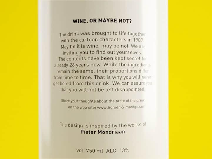 """酒瓶包装 """"配色方案"""" 来自于美国热播动漫《辛普森一家》"""