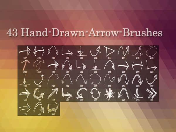 43种手绘涂鸦箭头符号Photoshop笔刷素材 箭头笔刷 标记笔刷 手绘箭头标记笔刷  symbols brushes