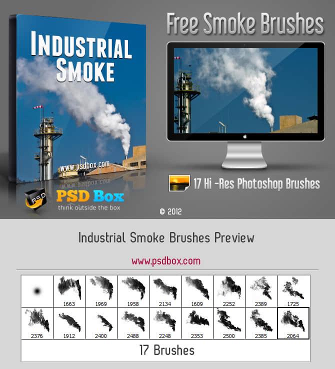 超真实工业烟雾、尾气、蒸汽Photoshop笔刷素材