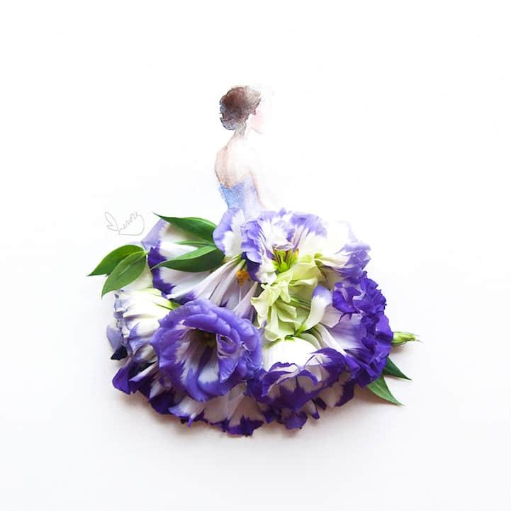"""漂亮的花瓣晚""""礼服"""""""