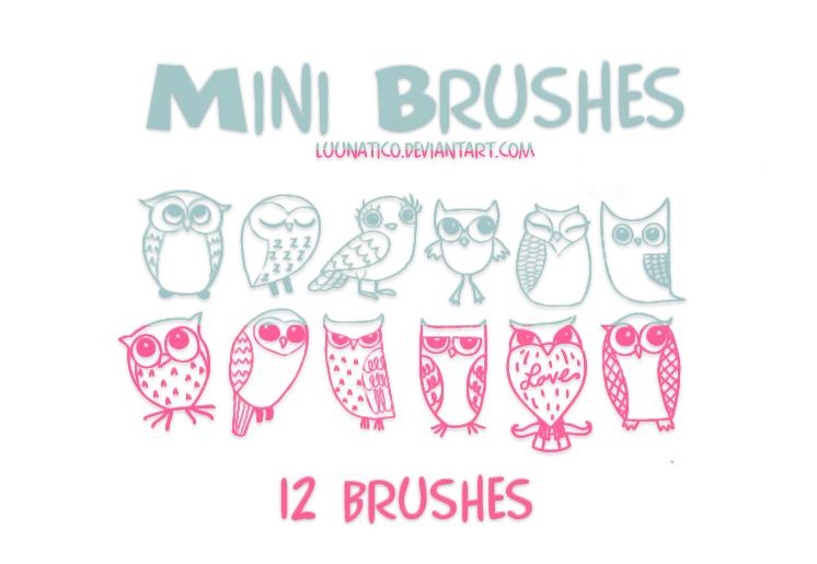 12种超萌、可爱卡通猫头鹰Photoshop笔刷