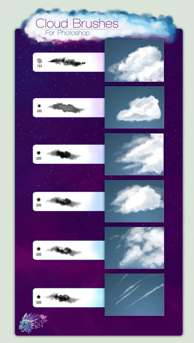 免费商业云朵云彩Photoshop笔刷素材
