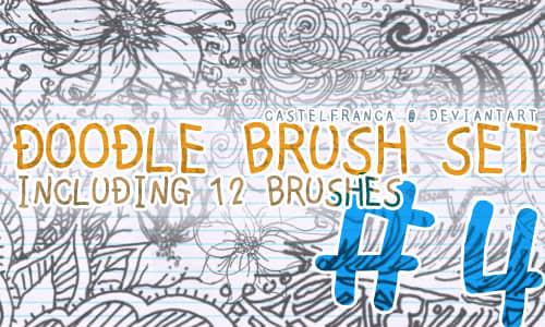 铅笔手绘插画式花纹图案Photoshop笔刷素材