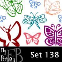 漂亮的蝴蝶刻画Photoshop笔刷素材