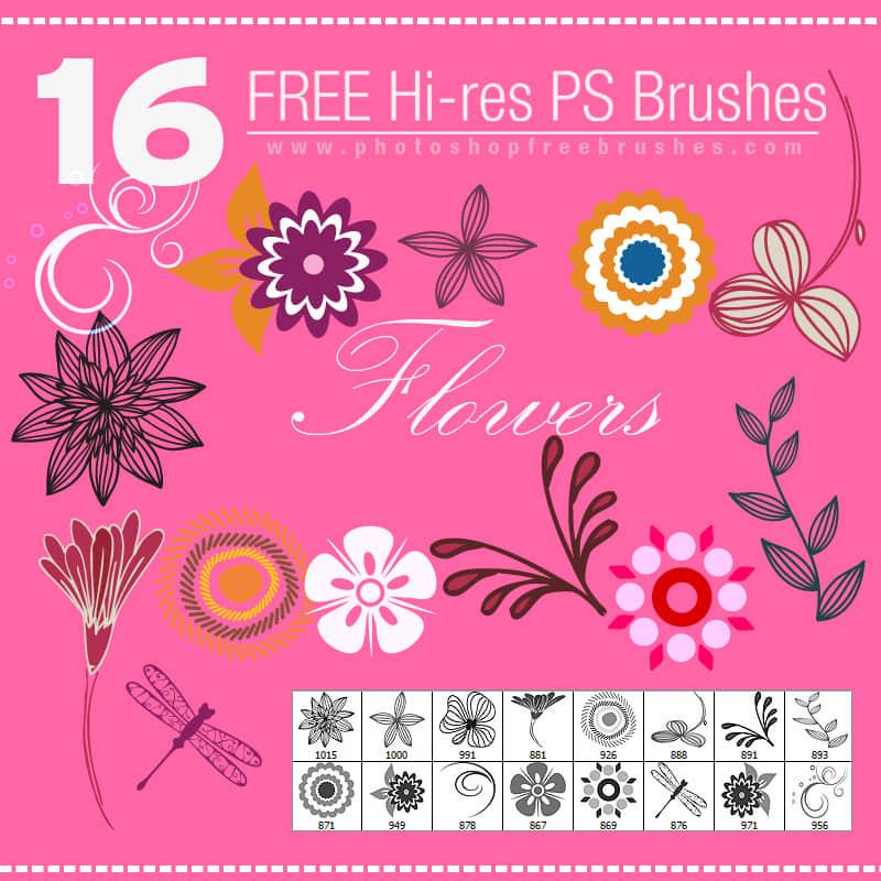 16种小清新矢量花纹图案Photoshop笔刷素材