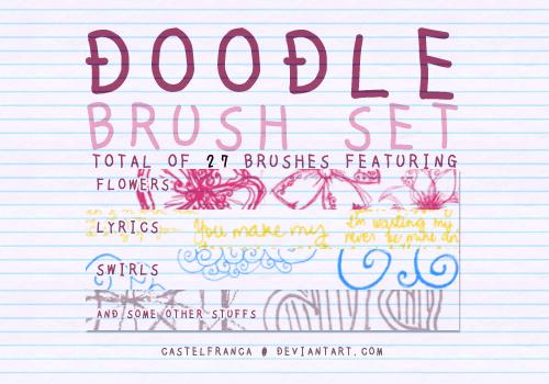 手绘爱心、云朵、花朵photoshop笔刷素材