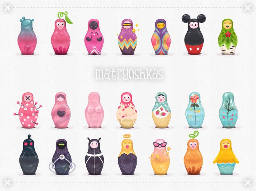 22装可爱的卡通俄罗斯套娃PNG透明素材【美图秀秀素材包】