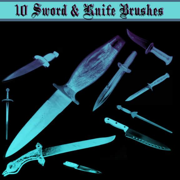 匕首、凶器、水果刀等Photoshop笔刷素材
