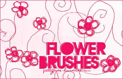 小清新细铅笔手绘小红花Photoshop笔刷素材