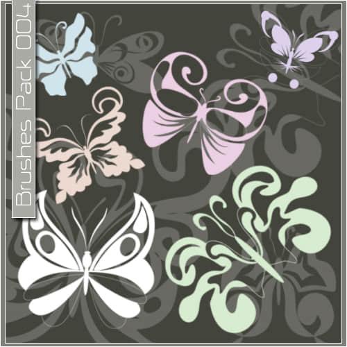 漂亮的矢量蝴蝶花纹图案Photoshop笔刷素材