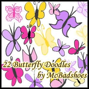 可爱卡通蝴蝶花纹Photoshop美图笔刷