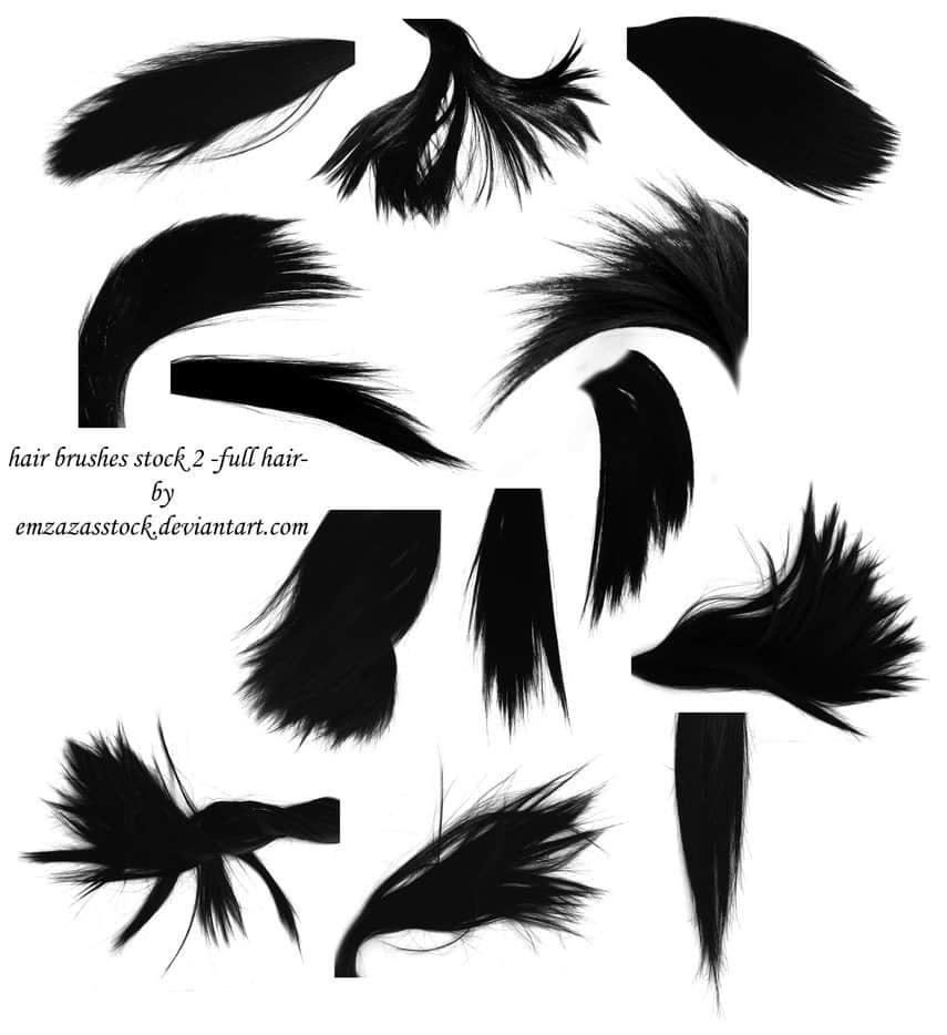 发尾、长发、黑发Photoshop笔刷素材