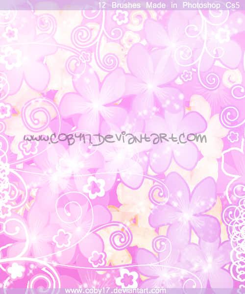 漂亮的桃花花纹Photoshop美图笔刷