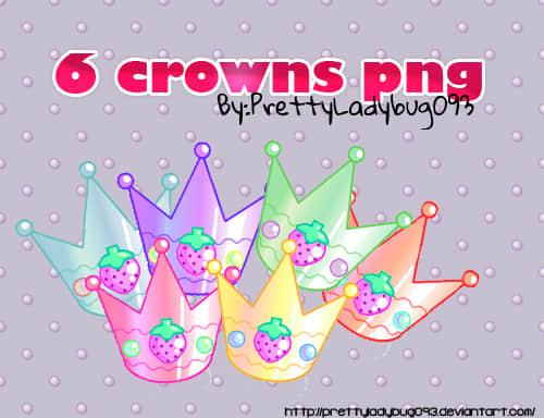 卡通草莓皇冠照片装饰素材