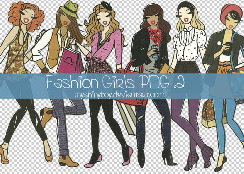 时髦女孩卡通PNG图片照片美图素材