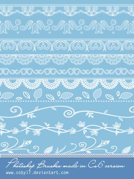 漂亮的古典花纹边框分割线Photoshop笔刷
