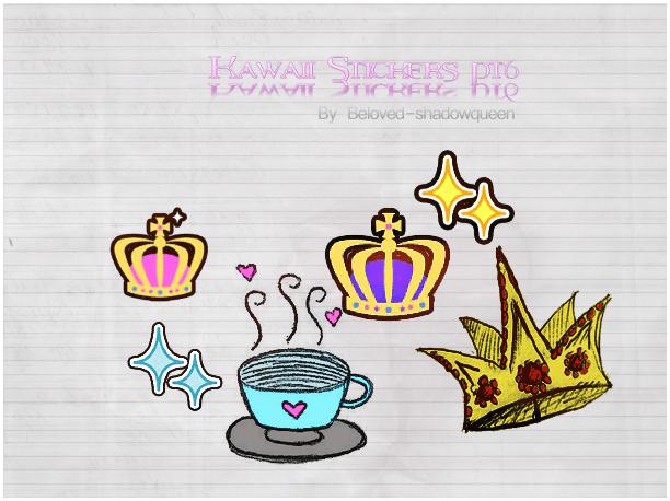 可爱呆萌卡通皇冠、咖啡图案美图素材