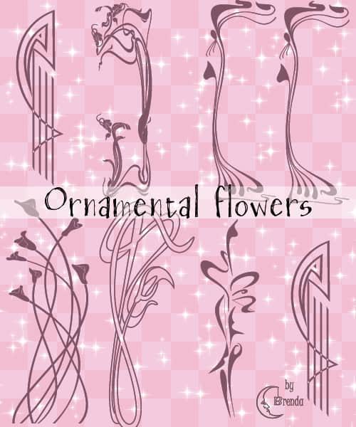 漂亮的植物花纹照片美图背景边框饰品PS笔刷 #.29