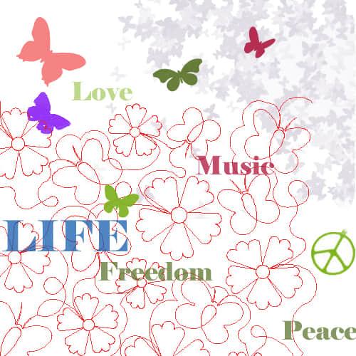 蝴蝶花纹图案美图PS笔刷素材