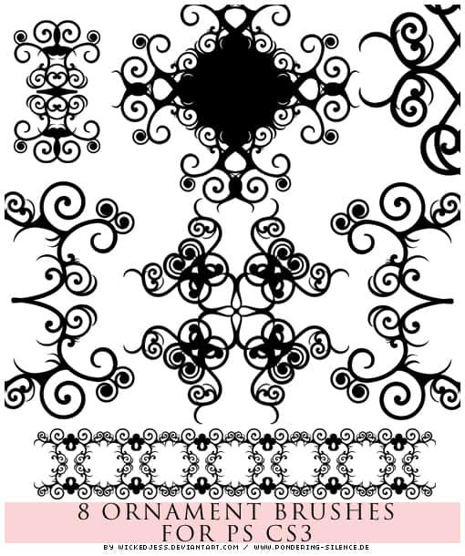 漂亮的对称式植物卷曲花纹PS笔刷素材