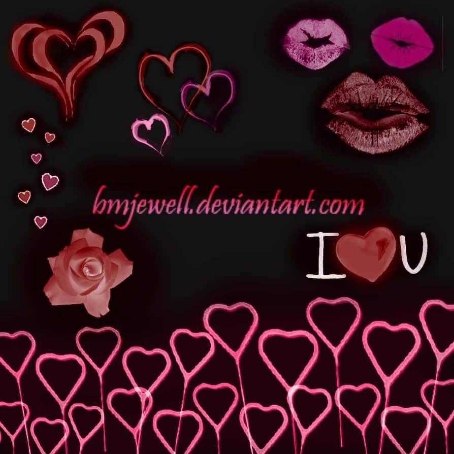 情人节爱心玫瑰、红唇PS笔刷素材