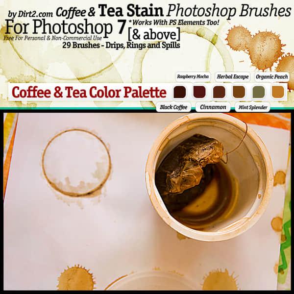 茶杯、咖啡杯杯底污渍、污迹Photoshop笔刷素材
