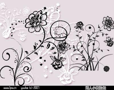 墙花、鲜花图案Photoshop照片边框制作美图笔刷