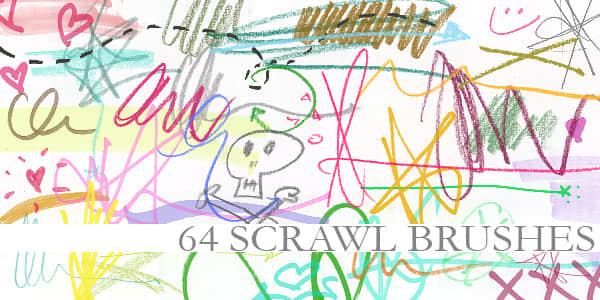 美图蜡笔、粉笔童趣涂鸦划痕Photoshop笔刷素材