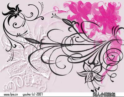 Photoshop手绘艺术植物花纹美图笔刷