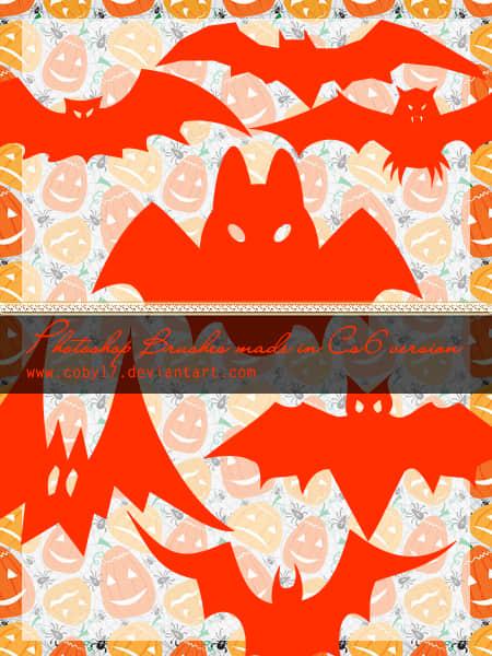 可爱万圣节吸血蝙蝠Photoshop笔刷素材