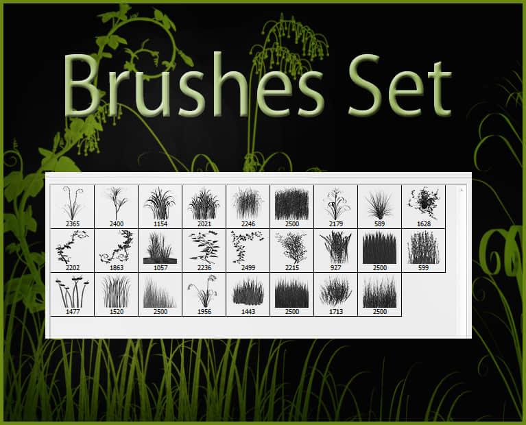 草地、青草植物剪影Photoshop笔刷素材