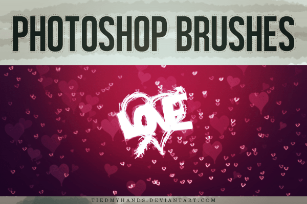 情人节甜蜜爱心涂鸦背景装饰Photoshop笔刷