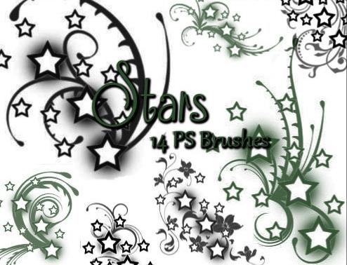 青春五角星花纹图案Photoshop笔刷素材