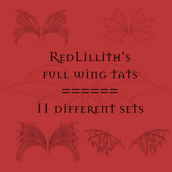 5种恶魔猎手、花妖精灵的线稿翅膀Photoshop笔刷