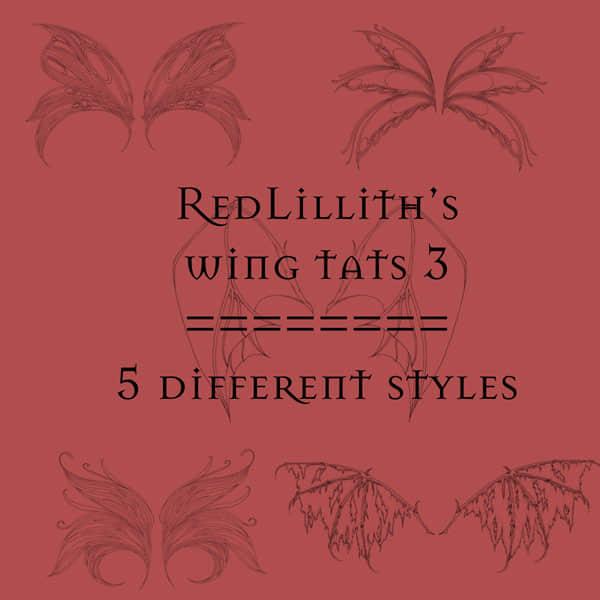 5种妖精与恶魔的线稿翅膀Photoshop笔刷