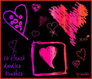 可爱情人节爱心涂鸦PS美图笔刷