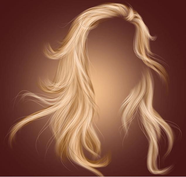 金色女式长发、发套Photoshop笔刷素材