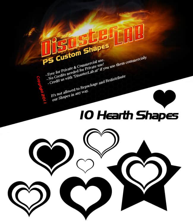 10不同样式的爱心图案photoshop自定义形状素材 .csh 下载