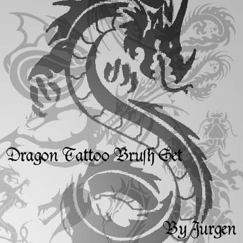 中国传统的龙纹身、龙图腾纹饰Photoshop笔刷