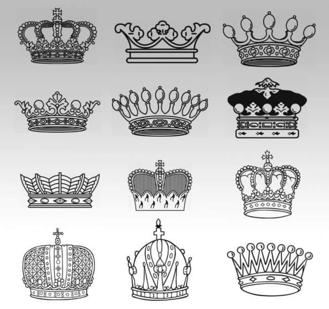 线稿式皇冠、王冠Photoshop笔刷