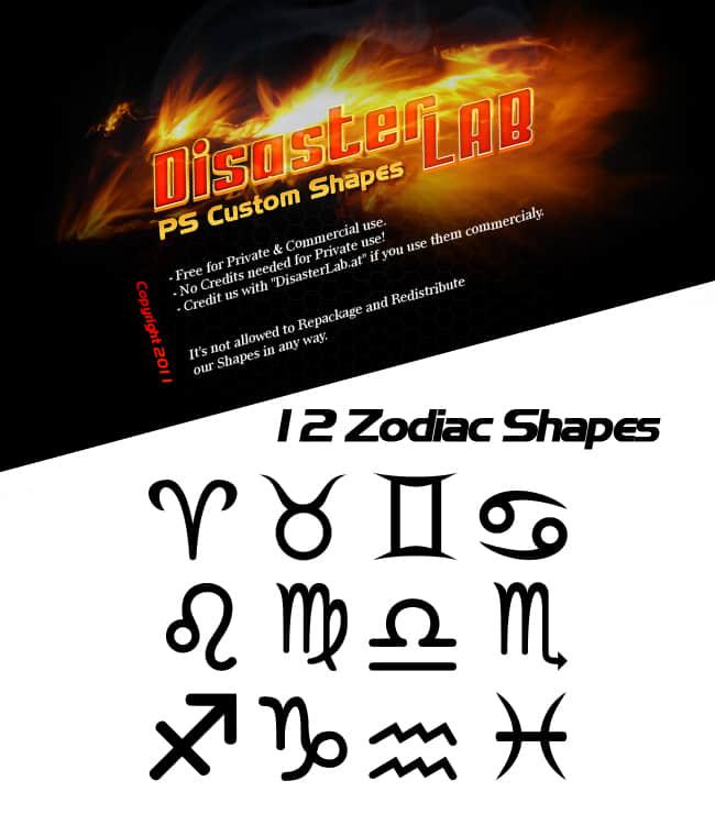 12星座符号photoshop自定义形状素材 .csh 下载