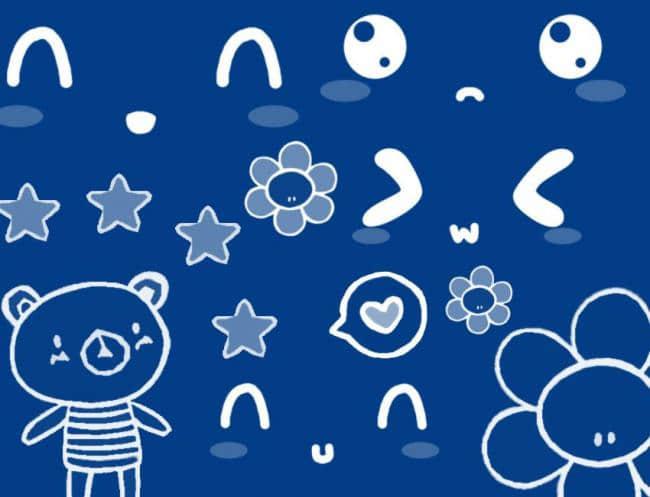 可爱小熊鲜花涂鸦Photoshop笔刷
