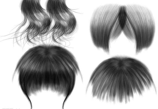 柔顺女士发型、头发笔刷Photoshop素材下载
