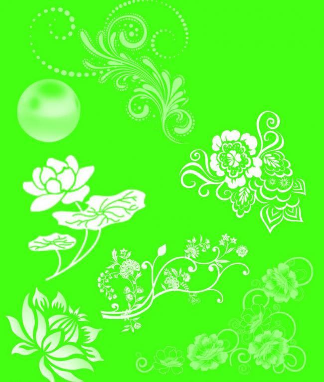 漂亮的中国传统花纹图案Photoshop笔刷