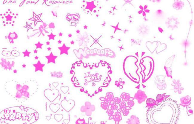 可爱星星、爱心Photoshop美图装扮笔刷