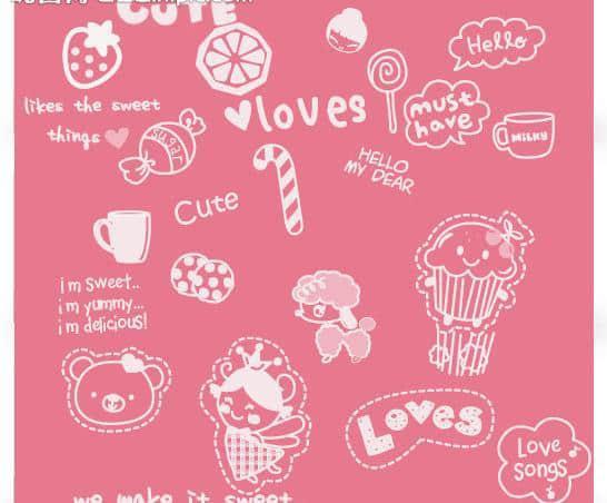 可爱糖果手绘图案Photoshop照片美图笔刷