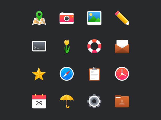 一组靓丽的彩色图标素材PSD源文件下载