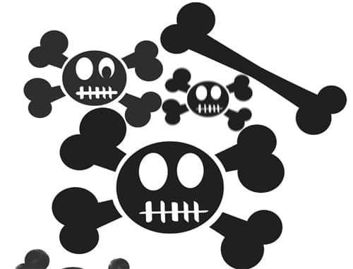 呆萌!卡通骷髅头与骨头Photoshop美图笔刷
